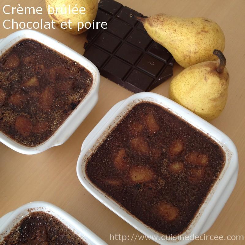 Crème brûlée poire et chocolat