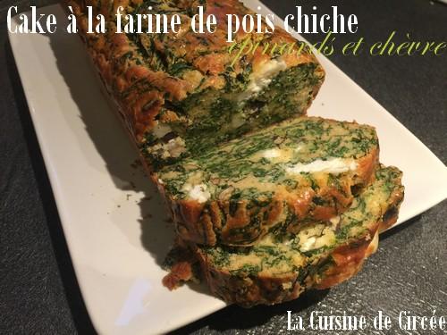 Cake à la farine de pois chiche épinard et chèvre (sans gluten)