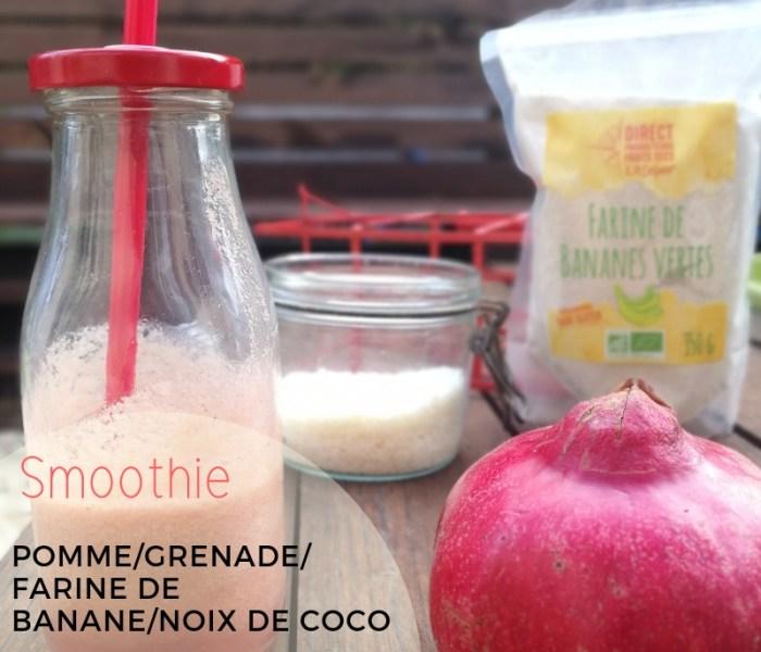 Smoothie pomme grenade farine de bananes vertes noix de coco