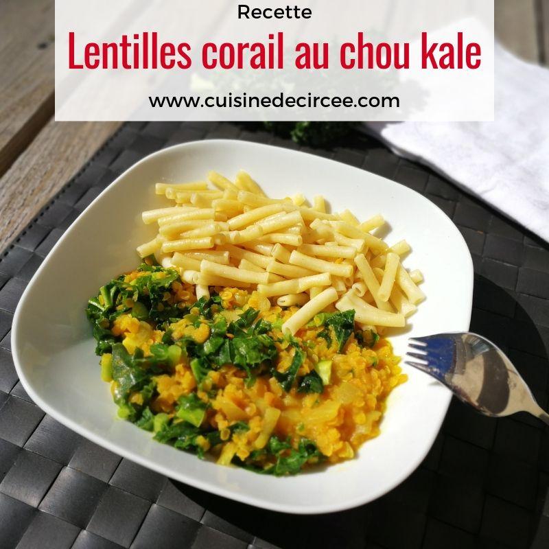 Lentilles corail au chou kale