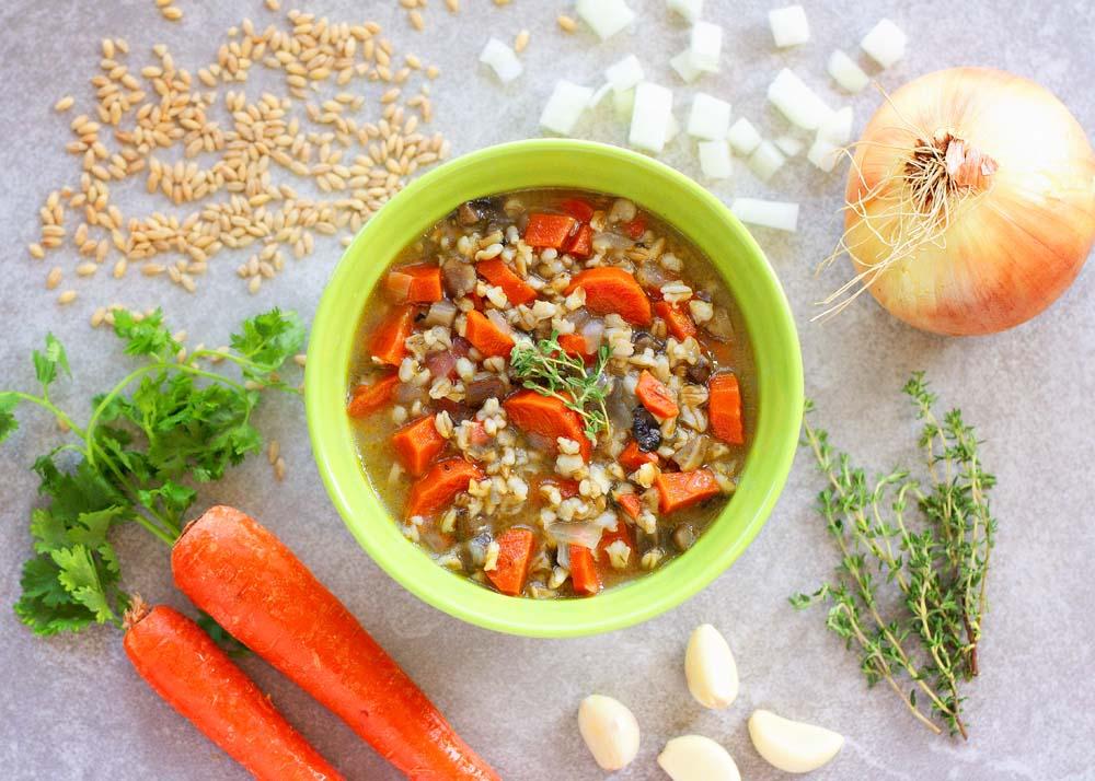 Roasted Garlic Barley Risotto Soup with Mushrooms