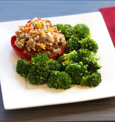 Asian Turkey-Stuffed Bell Peppers with Broccoli