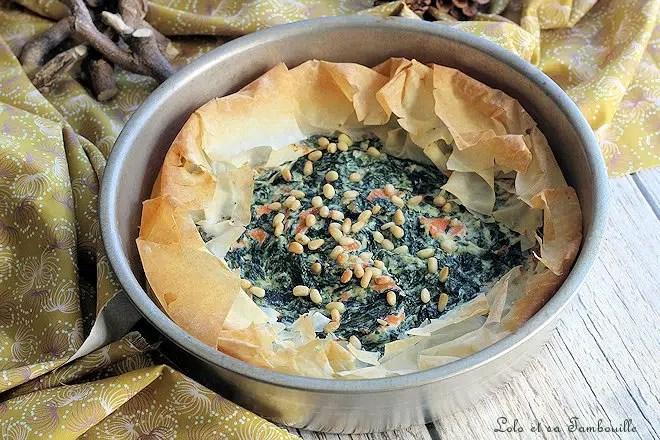 Tarte filo épinards saumon,tarte filo,tarte filo epinard feta,tarte filo épinard ricotta,tarte filo epinard
