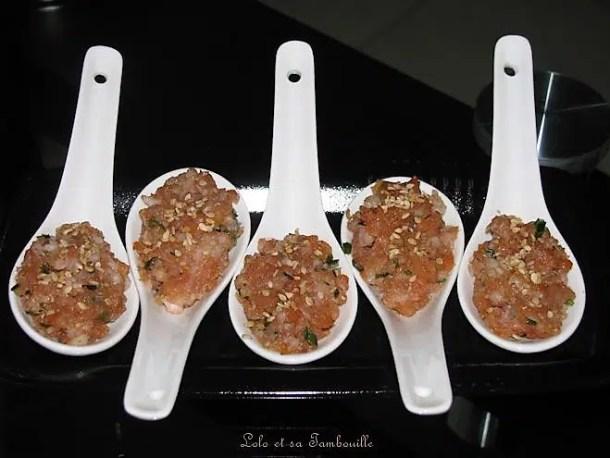 Tartare de crevettes & saumon fumé