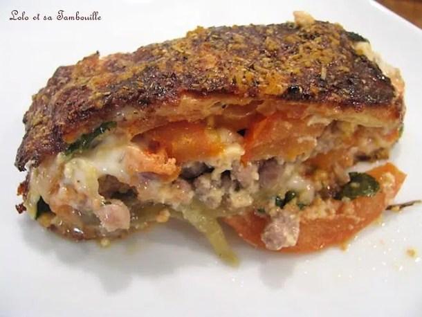 Gratin d'aubergines & tomates, sauce au reblochon