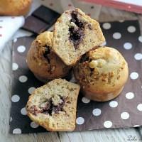 Muffins miel & noisettes {coeur chocolat}