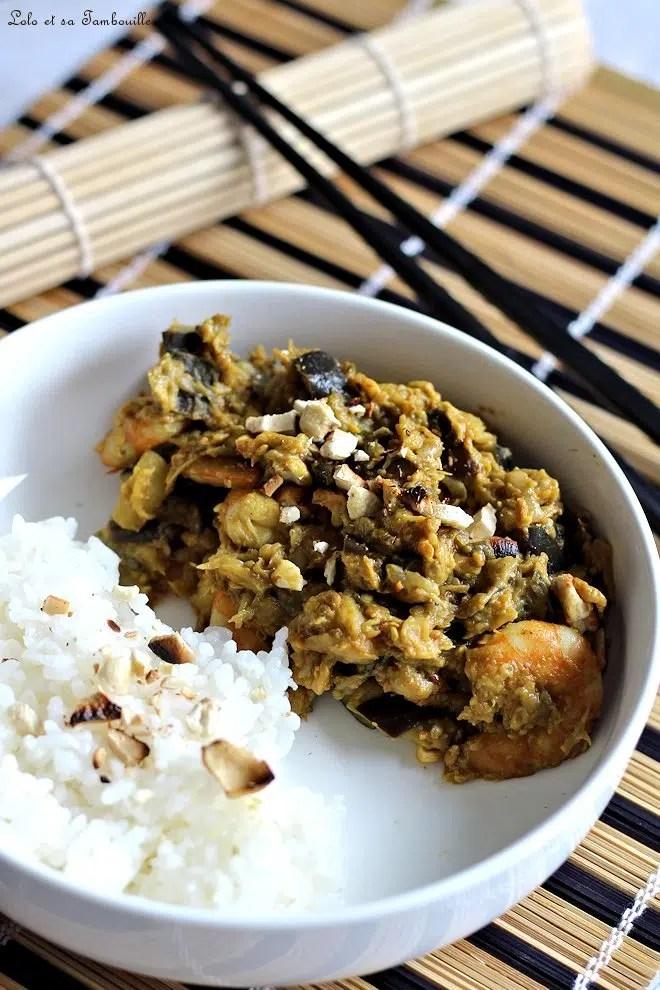Curry d'aubergines & crevettes