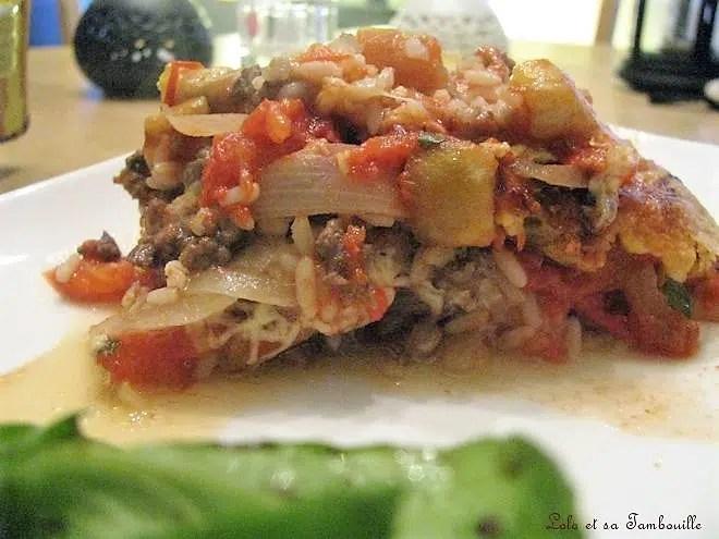 Gratin d'aubergines au riz, tomates & boeuf