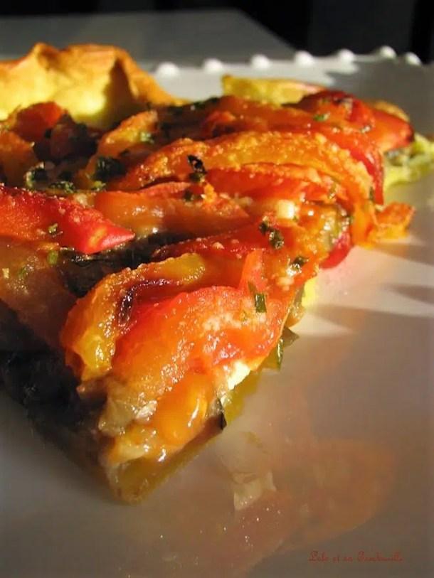 Tarte aux légumes grillés & carrés frais