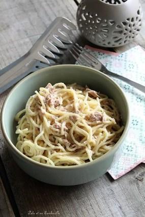 Spaghettis à la carbonara légère au thon (3)