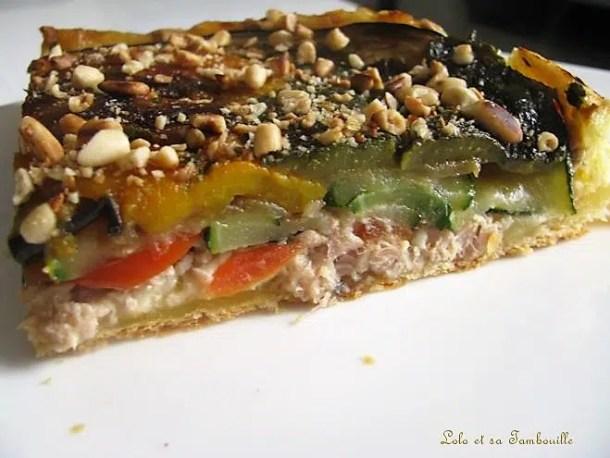 Tarte tatin aux légumes grillés & au thon