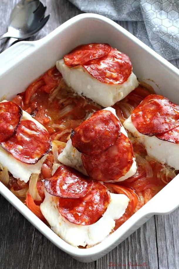 Cabillaud aux tomates & chorizo