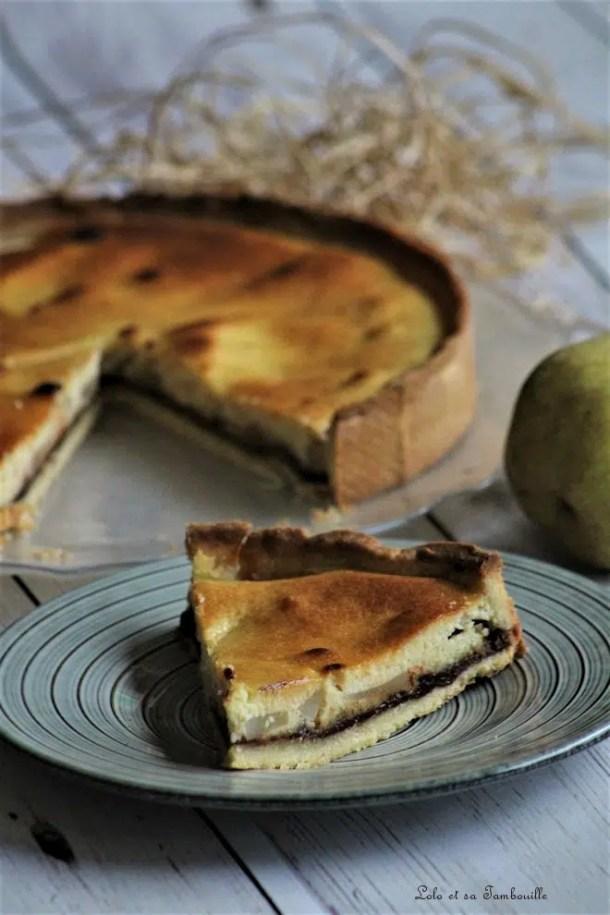 Tarte fondante poires, amandes & chocolat caramel