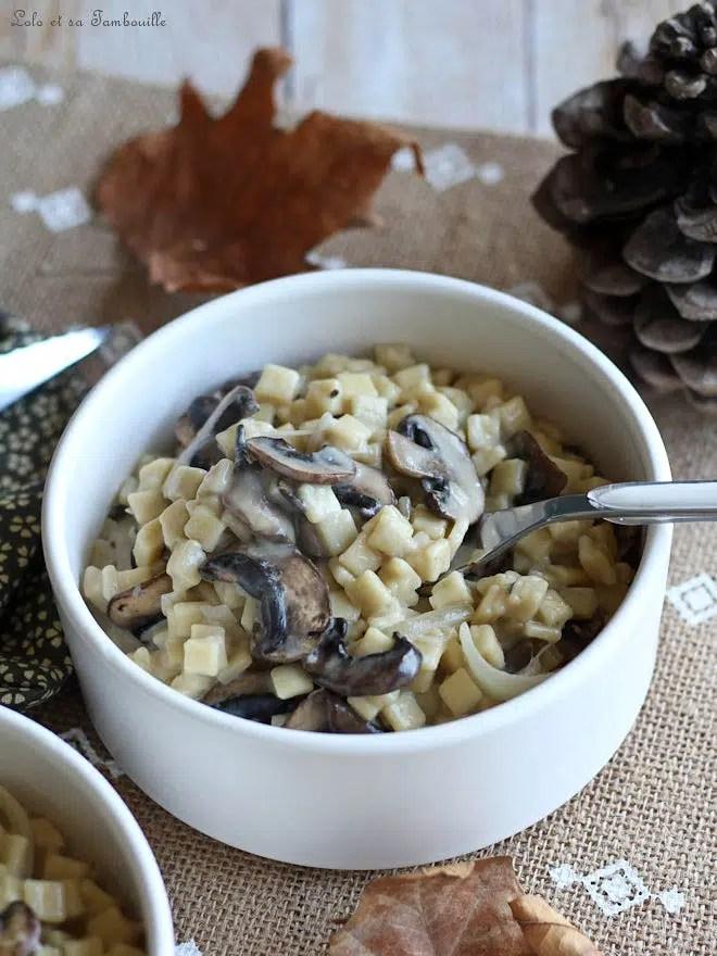 crozetto avec des champignons et du parmesan