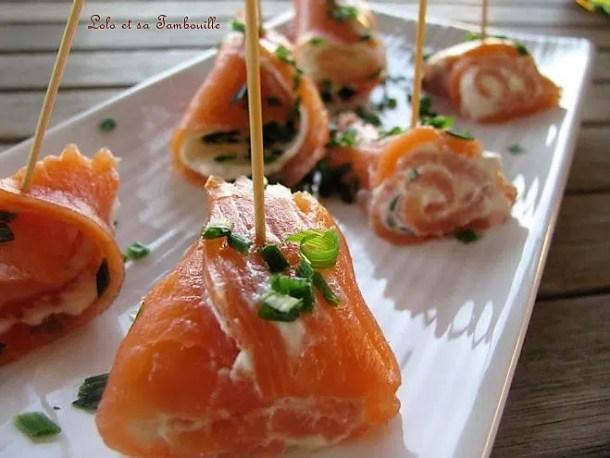 Roulades de saumon fumé au fromage frais & ciboulette
