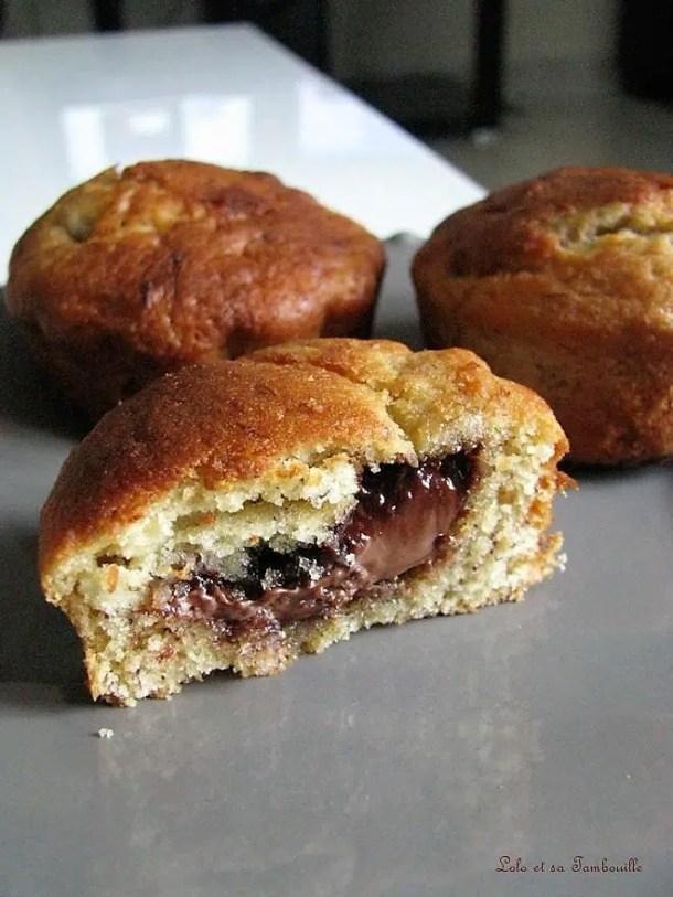 Muffins à la banane au coeur de Nutella
