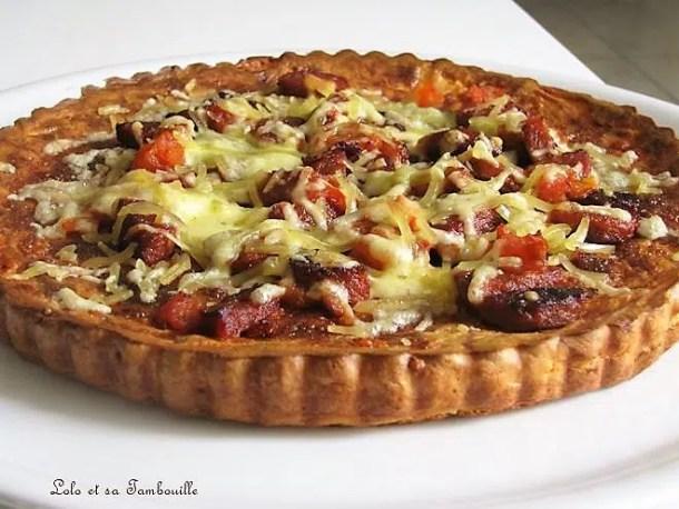 Pizza sans croûte au chorizo, tomate & fromage