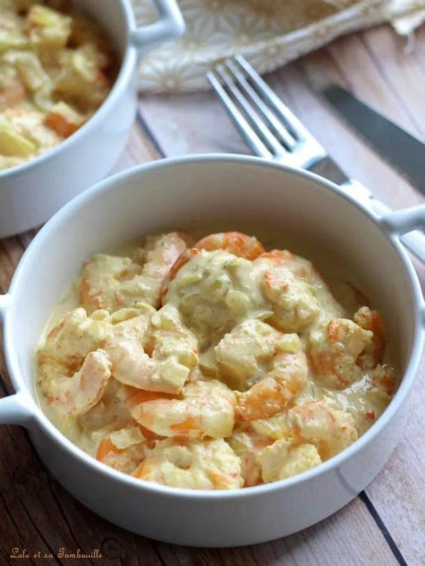 Cassolettes de crevettes au lait de coco & curry