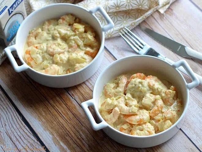 Cassolettes crevettes coco curry