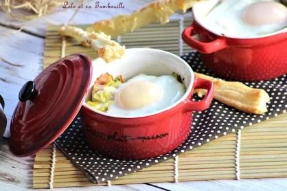 Oeufs cocottes aux poireaux & bacon (4)
