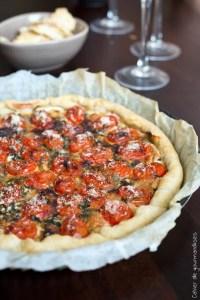 Tarte fine aux tomates cerises et parmesan stéphanie