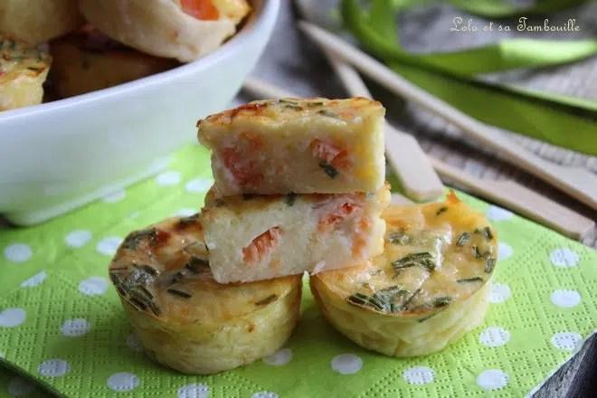 Quichettes sans pâte au saumon fumé & ciboulette