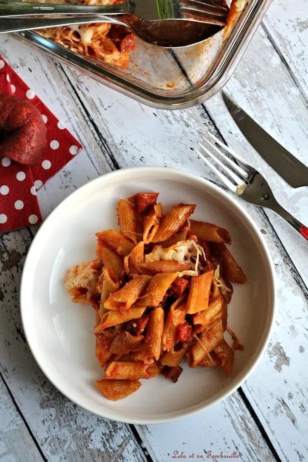 Gratin de pâtes au chorizo & pesto rosso