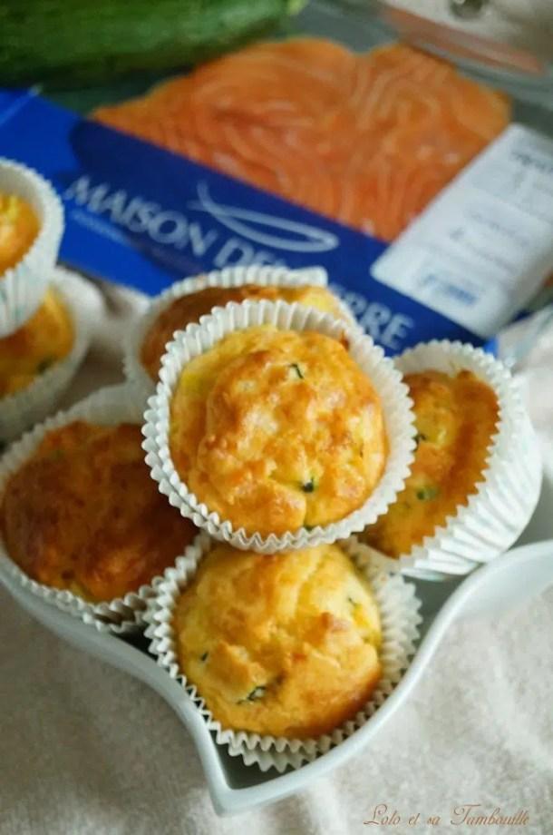 Muffins aux courgettes & saumon fumé