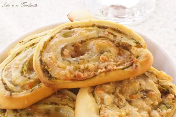 Spirales feuilletées courgette & pesto