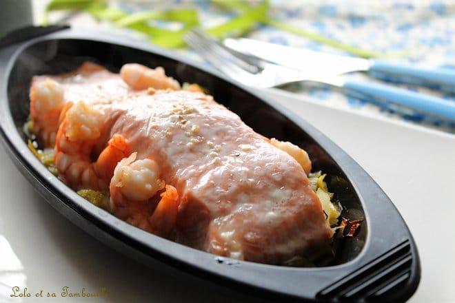Papillotes de saumon aux poireaux