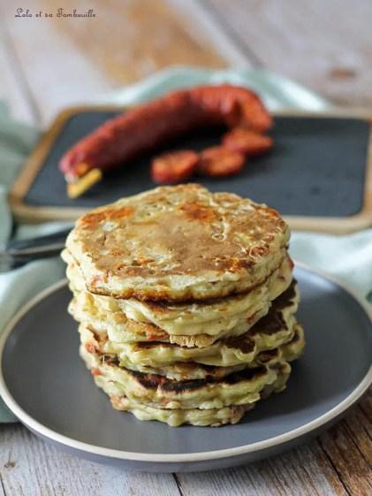 Pancakes au chorizo & poireaux (4)