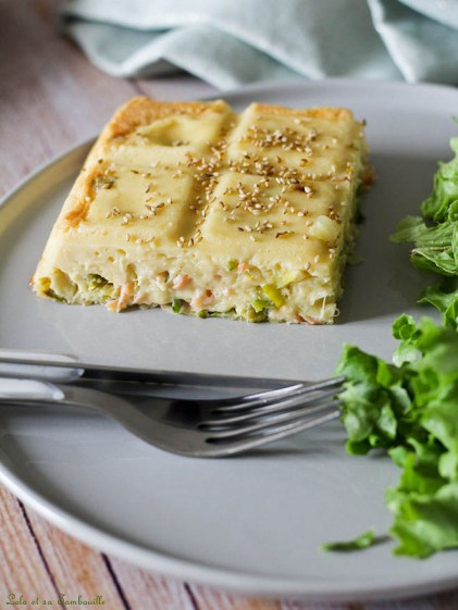 Quiche sans pâte au saumon & poireaux (2)