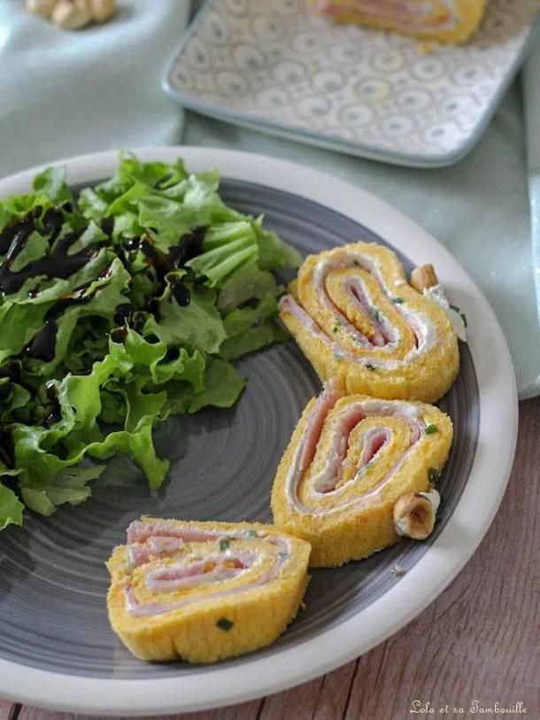 Roulé à la butternut, fromage frais & jambon