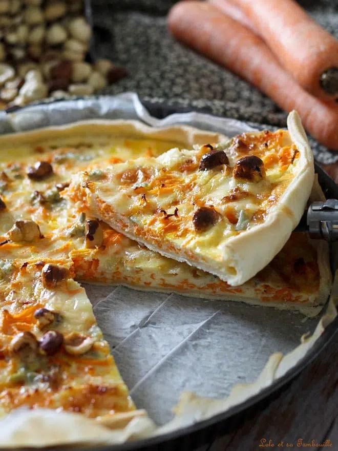 Quiche au gorgonzola & carottes