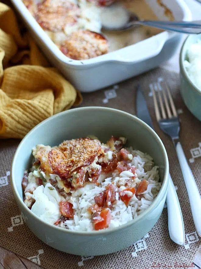 gratin de cabillaud tomate chorizo, recette de gratin de poisson