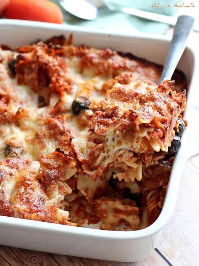 gratin de pâtes au thon mozzarella, plat de pâtes au thon au four