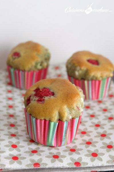Muffins the matcha chocolat et framboises