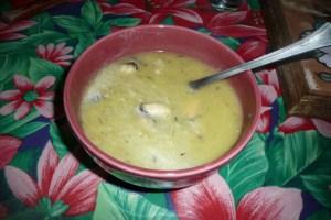 Velouté de poireaux au safran et aux moules 2