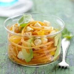 Salade de carottes, avocat et Reblochon à l'orange