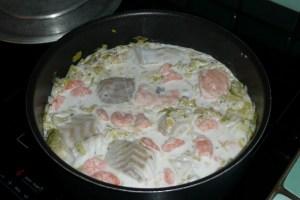 Morceaux de poissons aux poireaux et aux crevettes 3