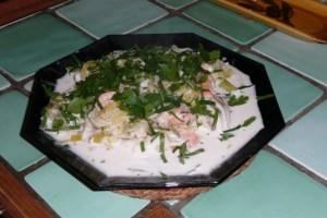 Morceaux de poissons aux poireaux et aux crevettes 4