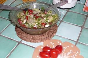 Salade concombre, tomates et mozzarella