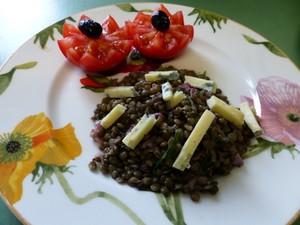 salade de lentilles à la fourme d'ambert