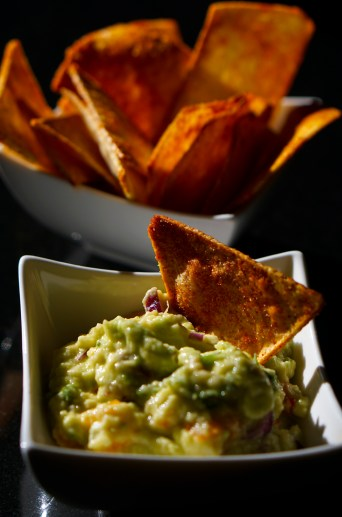 Taro Roots Chips And Guacamole