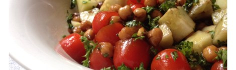Tomato, Cucumber and Garbonzo Bean Salad