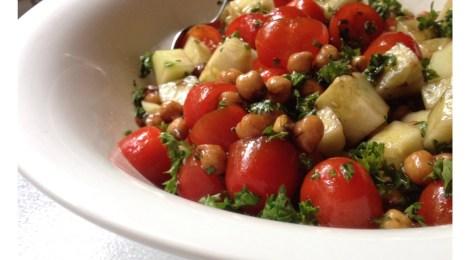 Tomato, Cucumber and Garbonzo Bean Salad