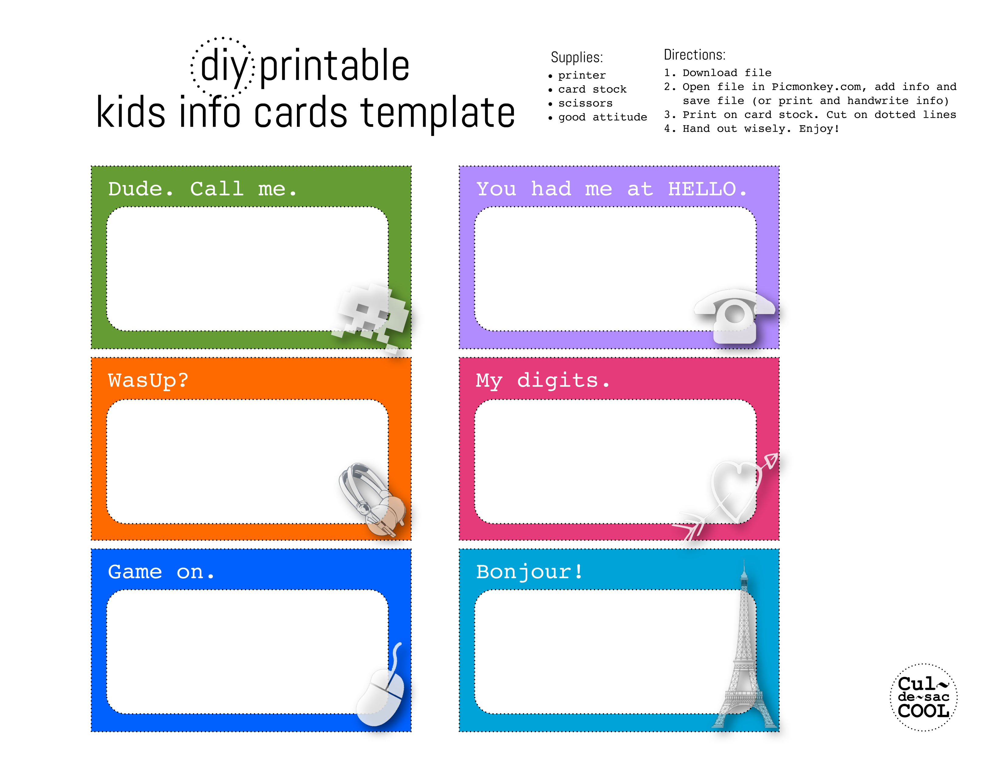 Adorable image with regard to information cards template