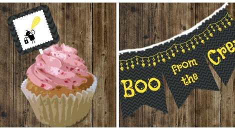 DIY Printable 'Boo from the Crew' Halloween Cupcake Toppers & Garland