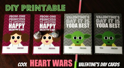 DIY Printable Cool Heart Wars Valentines Day Cards
