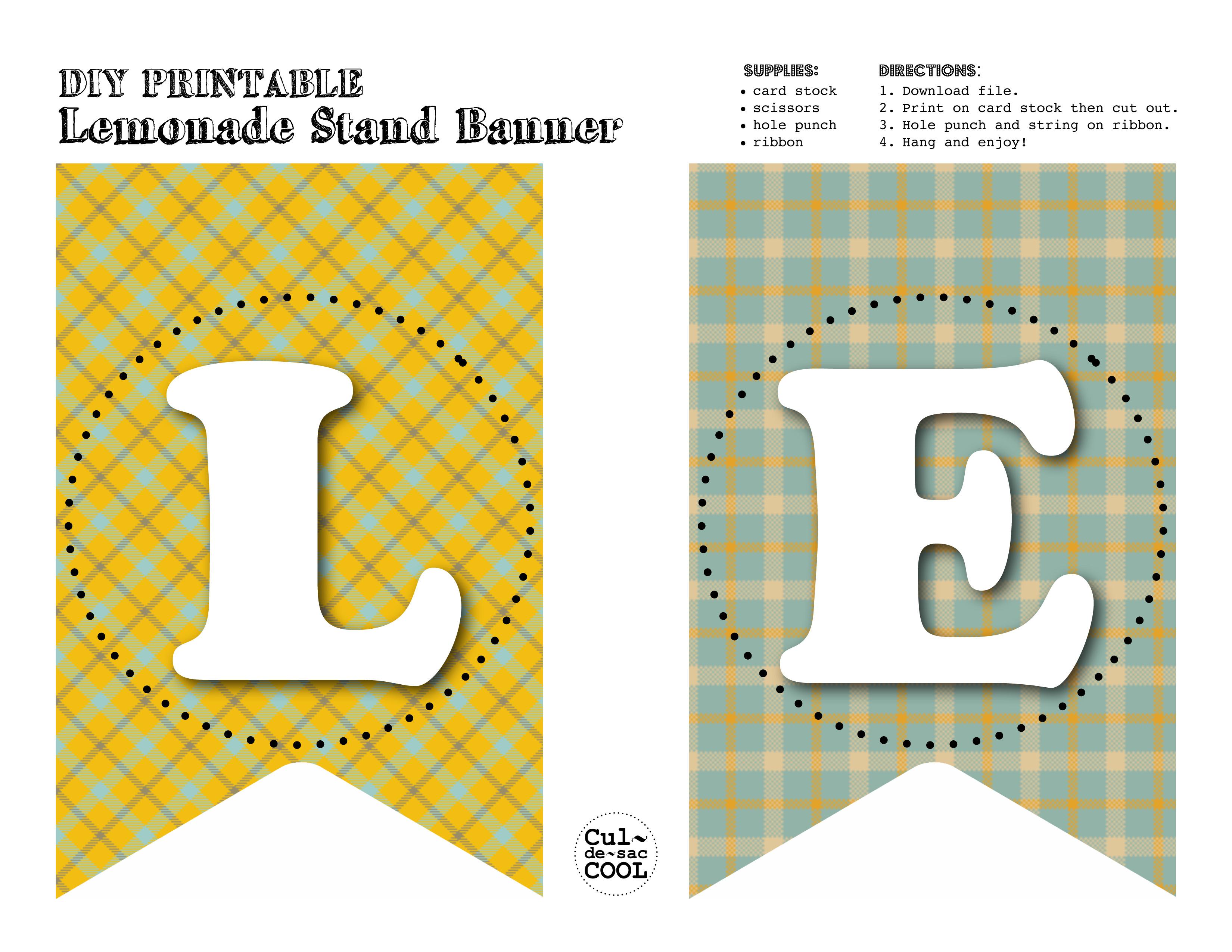 Diy Printable Lemonade Stand Banner Amp Menu
